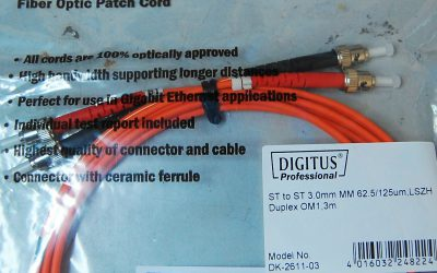 FOR SALE: Digitus ST-ST fiberoptic cable DK-2611-03 NEW